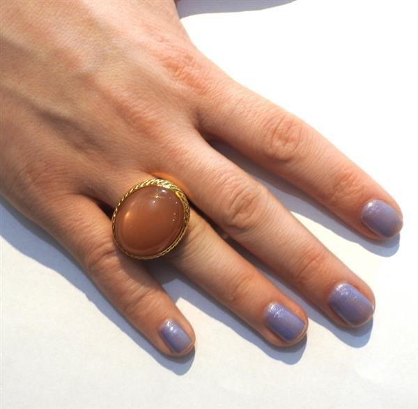 David Yurman 18k Gold Peach Moonstone Ring - 5