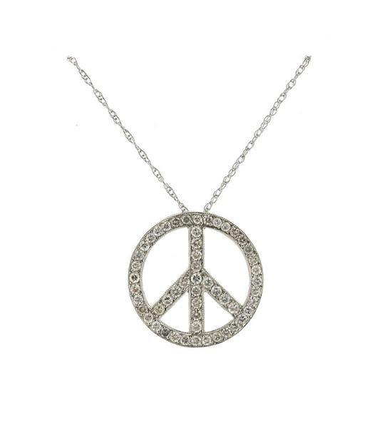 14K Gold Diamond Peace Pendant Necklace