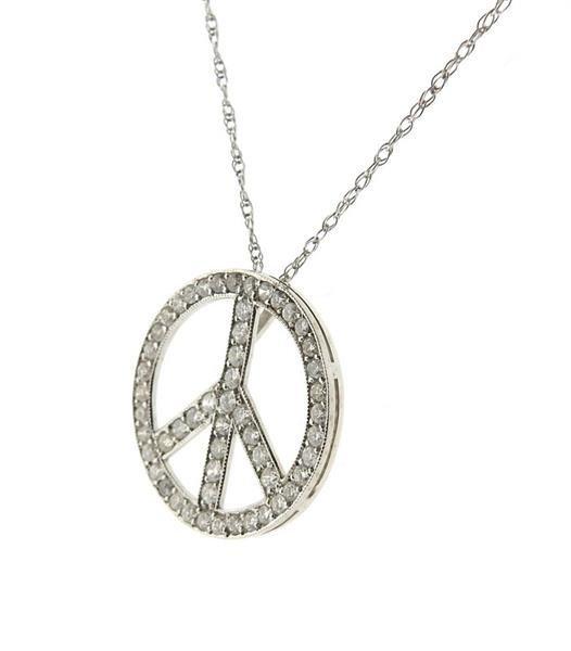 14K Gold Diamond Peace Pendant Necklace - 2