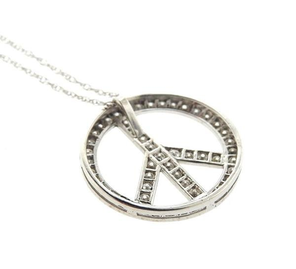 14K Gold Diamond Peace Pendant Necklace - 3