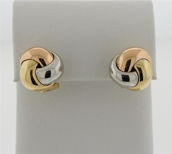 Cartier trinity 18k Tri Color Gold Knot Earrings - 2