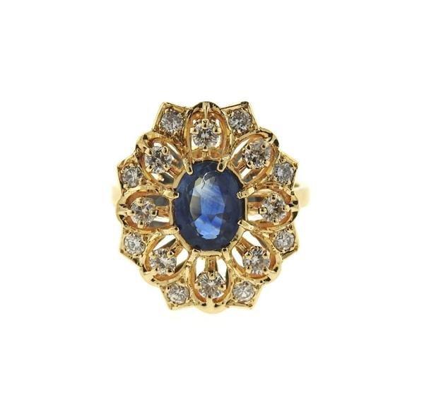 14k Gold Diamond Sapphire Cocktail Ring