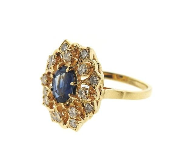 14k Gold Diamond Sapphire Cocktail Ring - 2