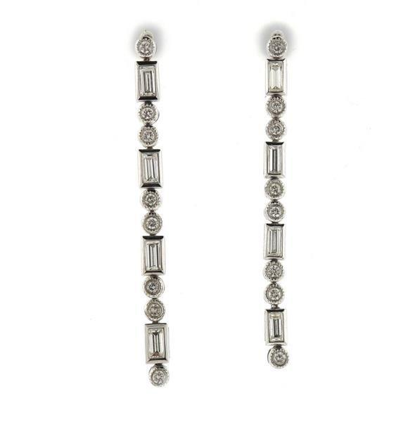 18K 14K Gold Diamond Dangle Earings