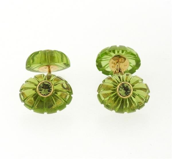 Seaman Schepps 18k Gold Carved Peridot Cufflinks