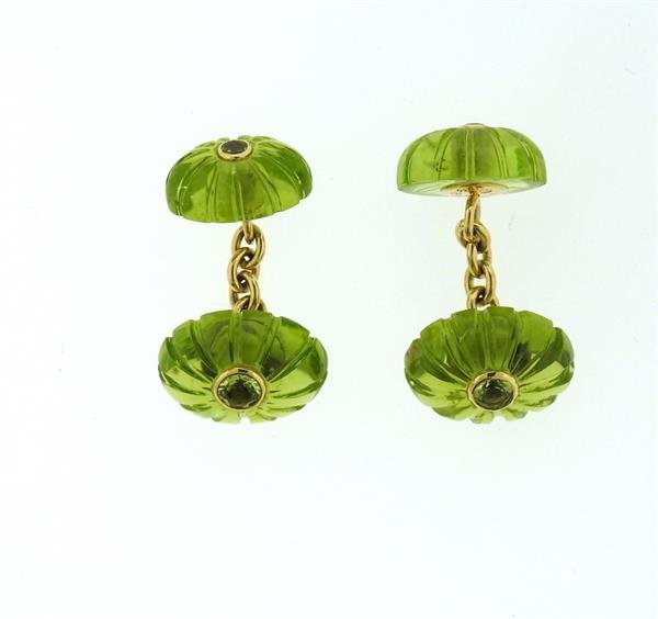 Seaman Schepps 18k Gold Carved Peridot Cufflinks - 2