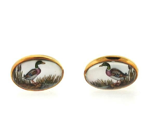 Victor Mayer 18k Gold Reverse Painting Duck Cufflinks