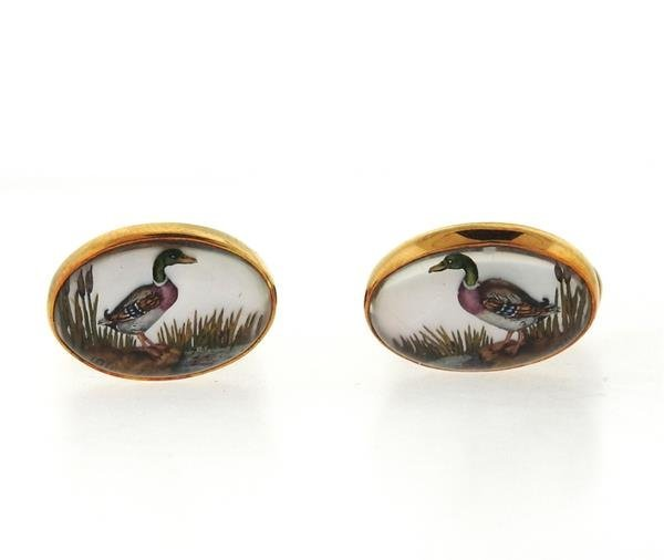 Victor Mayer 18k Gold Reverse Painting Duck Cufflinks - 2