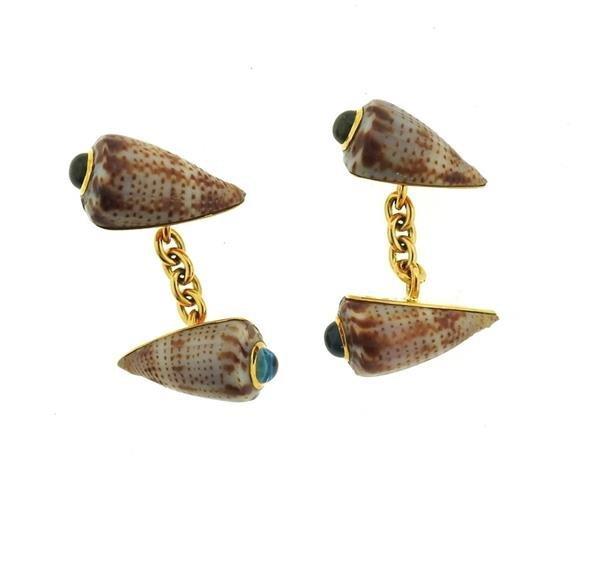 Trianon 18k Gold Shell Peridot Topaz Cufflinks