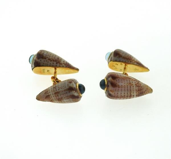 Trianon 18k Gold Shell Peridot Topaz Cufflinks - 2