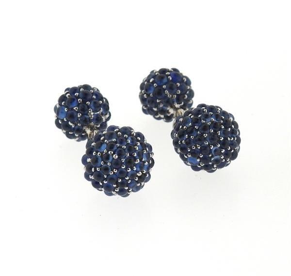 18k Gold Blue Gemstone Ball Cufflinks