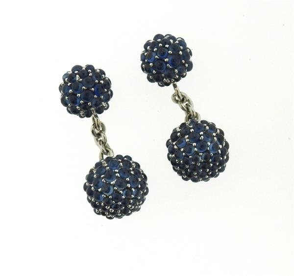18k Gold Blue Gemstone Ball Cufflinks - 2