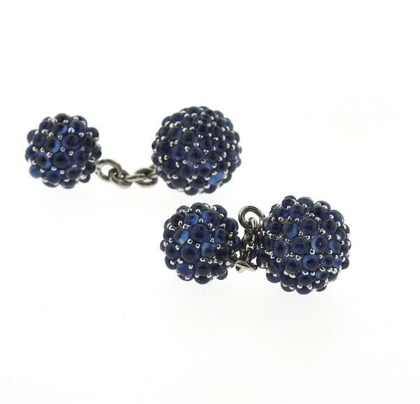 18k Gold Blue Gemstone Ball Cufflinks - 3