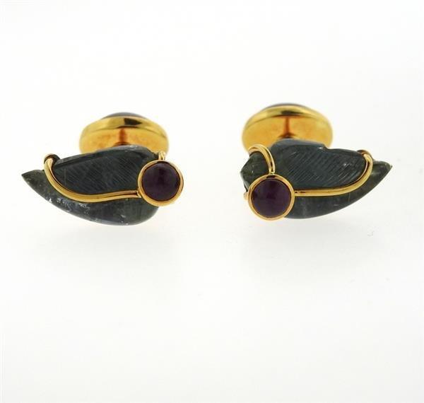 Seaman Schepps 18k Gold Ruby Carved Gemstone Cufflinks