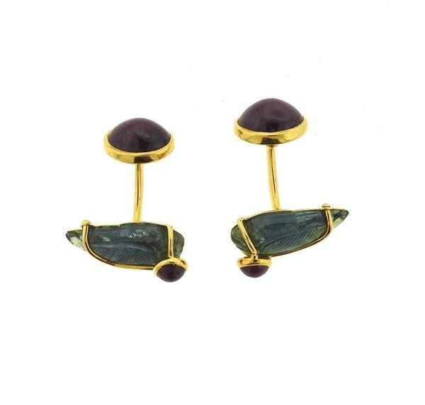 Seaman Schepps 18k Gold Ruby Carved Gemstone Cufflinks - 2