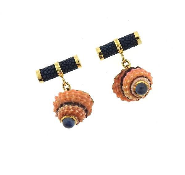 Trianon 18k Gold Shell Sapphire Cufflinks