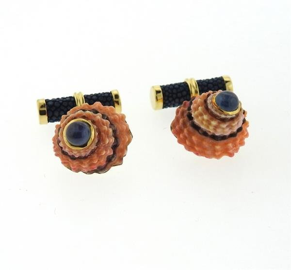 Trianon 18k Gold Shell Sapphire Cufflinks - 2