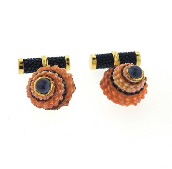 Trianon 18k Gold Shell Sapphire Cufflinks - 3