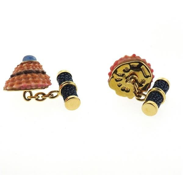 Trianon 18k Gold Shell Sapphire Cufflinks - 4