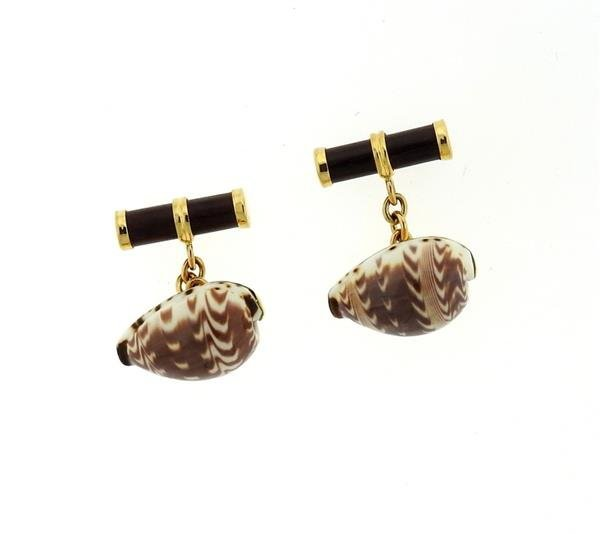 Trianon 18k Gold Shell Wood Cufflinks