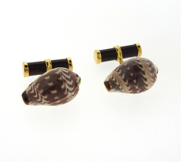 Trianon 18k Gold Shell Wood Cufflinks - 2