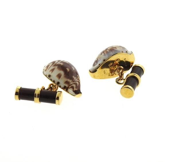 Trianon 18k Gold Shell Wood Cufflinks - 3