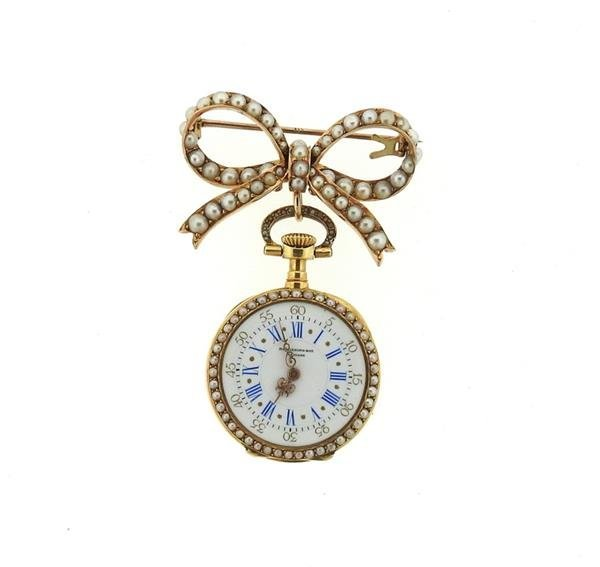 Patek Philippe Spaulding & Co 14k Gold Pearl Lapel