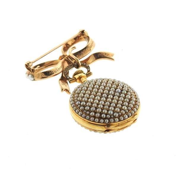 Patek Philippe Spaulding & Co 14k Gold Pearl Lapel - 4