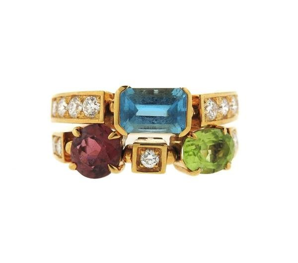 Bulgari Bvlgari Allegra 18k Gold Gemstone Diamond Ring