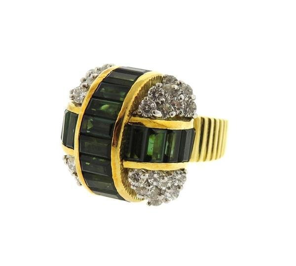 Le Triomphe 18k Gold Diamond Tourmaline Ring