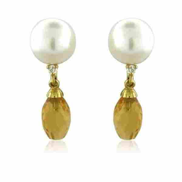 Trianon 18k Gold Pearl Diamond Citrine Drop Earrings