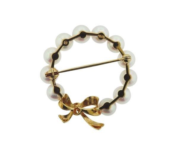 Mikimoto 18K Gold Pearl Circle Brooch Pin - 3