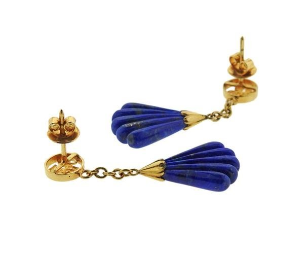 14k Gold Carved Lapis Dangle Earrings - 3