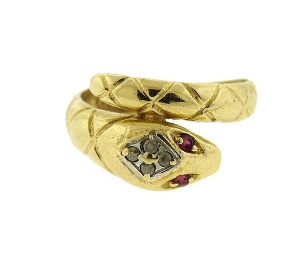 14K Gold Diamond Ruby Snake Bypass Ring