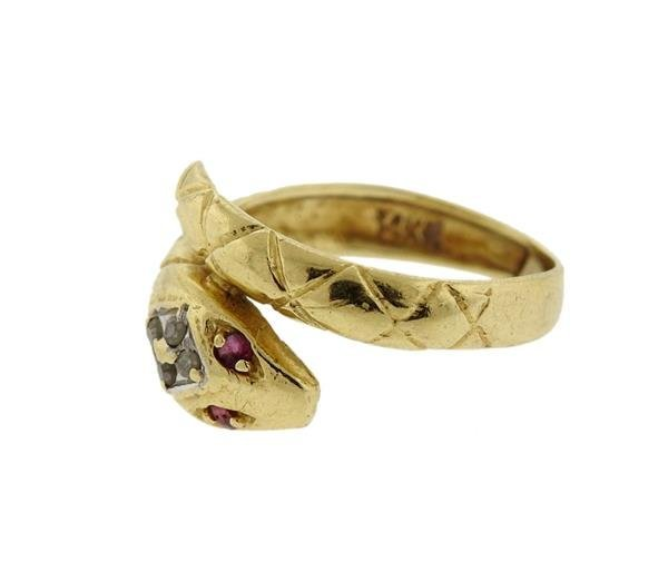 14K Gold Diamond Ruby Snake Bypass Ring - 2