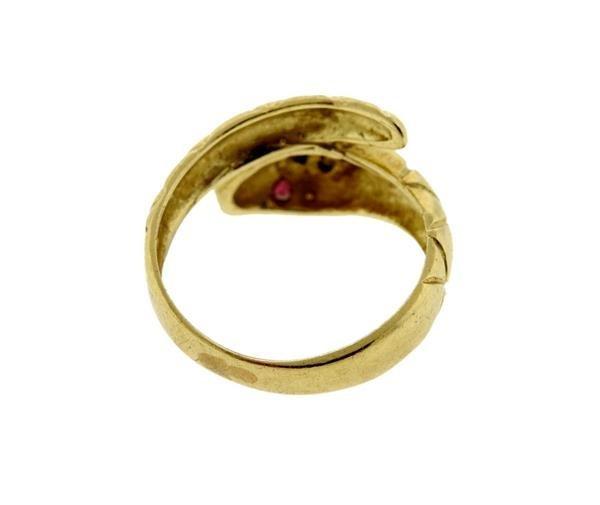 14K Gold Diamond Ruby Snake Bypass Ring - 3