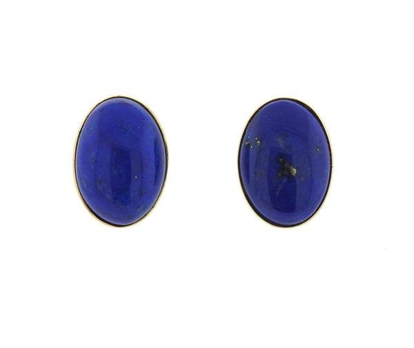 14K Gold Lapis Stud Earrings