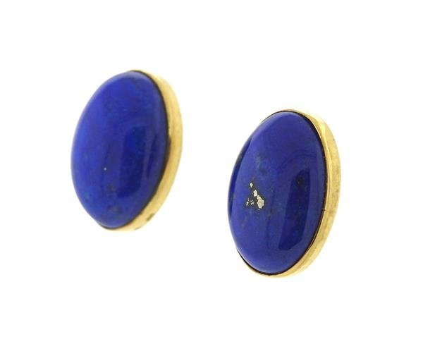 14K Gold Lapis Stud Earrings - 2