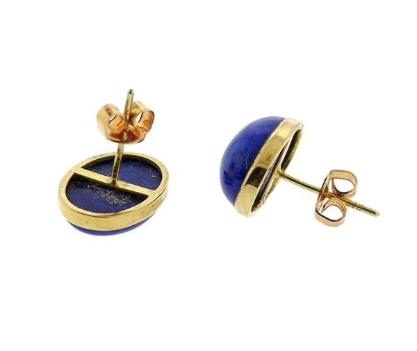 14K Gold Lapis Stud Earrings - 3