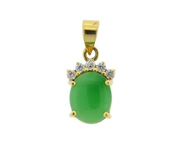 14K Gold Jade Diamond Pendant
