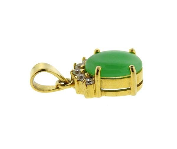 14K Gold Jade Diamond Pendant - 2
