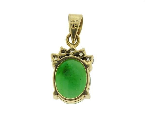 14K Gold Jade Diamond Pendant - 3
