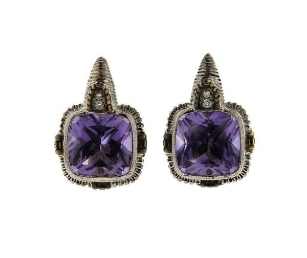 Judith Ripka 18k Gold Sterling Amethyst Diamond