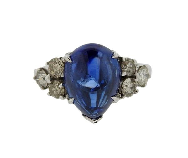 French 18k Gold 8.82ct Pear Shape Sapphire Diamond Ring