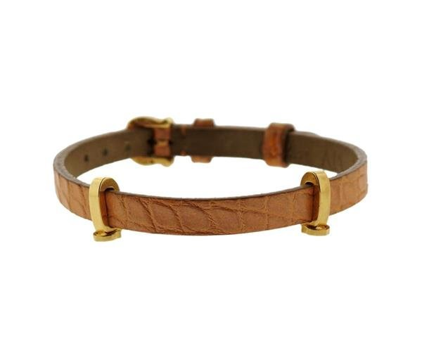 Cartier 18K Gold Leather Bracelet
