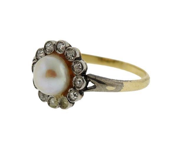 18K Gold Diamond Pearl Ring - 2