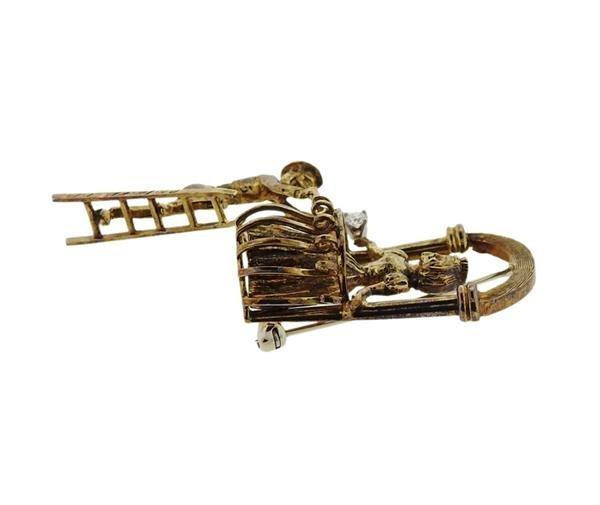 14K Gold Diamond Romeo Juliet Brooch Pin - 2