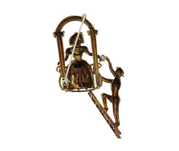 14K Gold Diamond Romeo Juliet Brooch Pin - 3