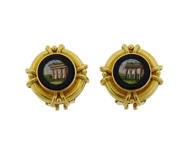 Elizabeth Locke 19K Gold Onyx Micro Mosaic Earrings