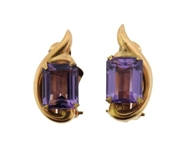Retro 18K Gold Amethyst Earrings